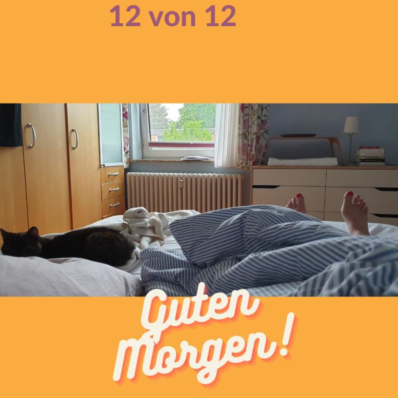 Ein ungemachtes Bett, ein Fuß mit lackierten Nägeln und eine Katze
