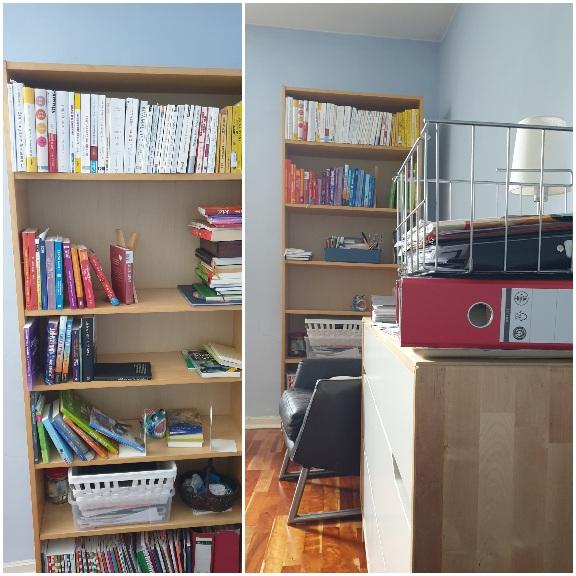 Das Bücherregal wird ordentlich