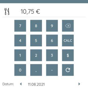 Die Tastatur einer Rechen-App
