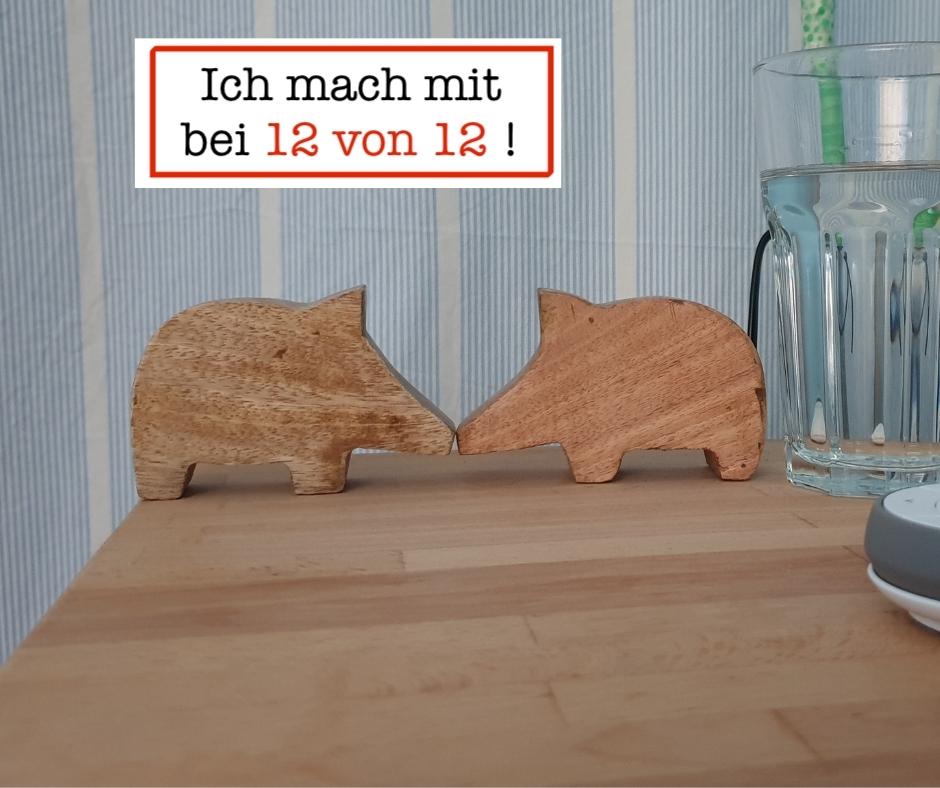 Zwei Holzschweine